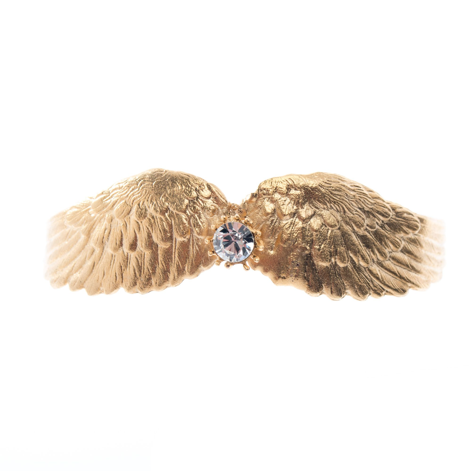Barbosa Jewelry 24k Gold Plated Wings Crystal Cuff Bracelet