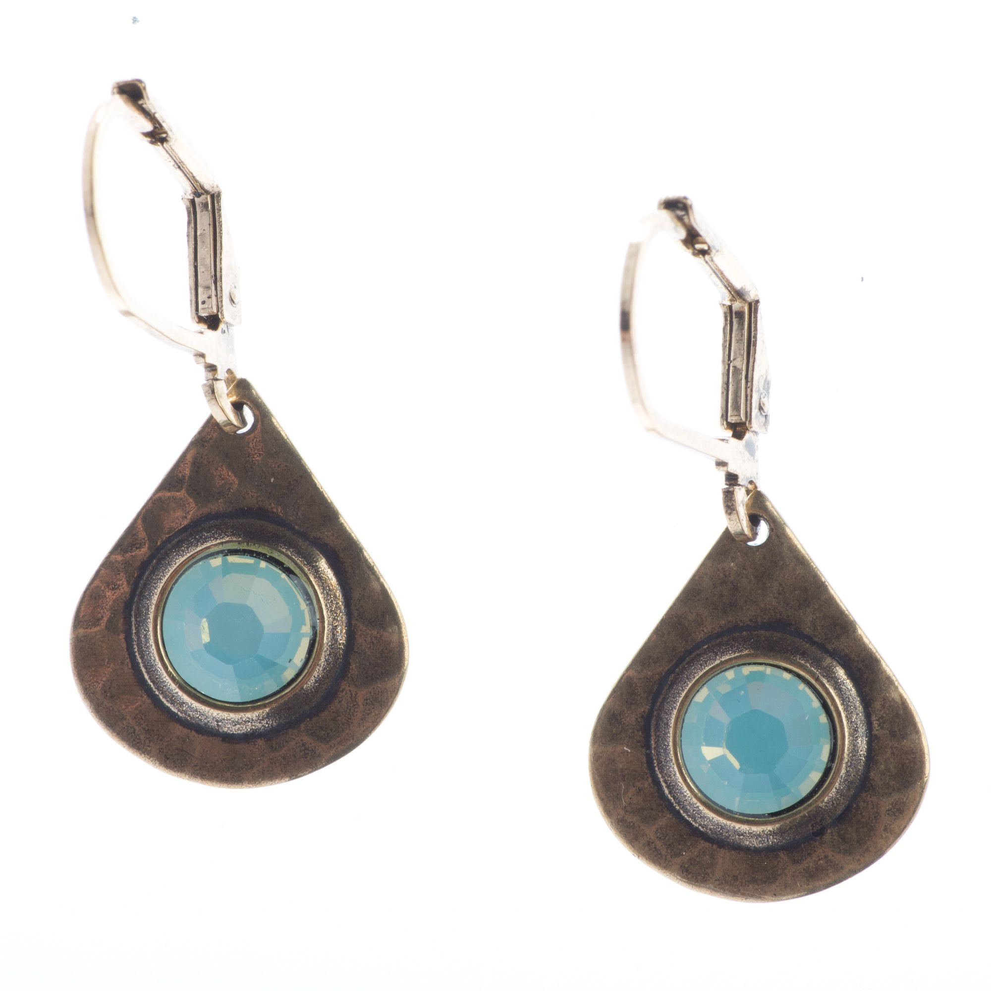 9525f2139924b Top Shelf Jewelry Hammered Brass Teardrop and Pacific Opal Crystal Earrings