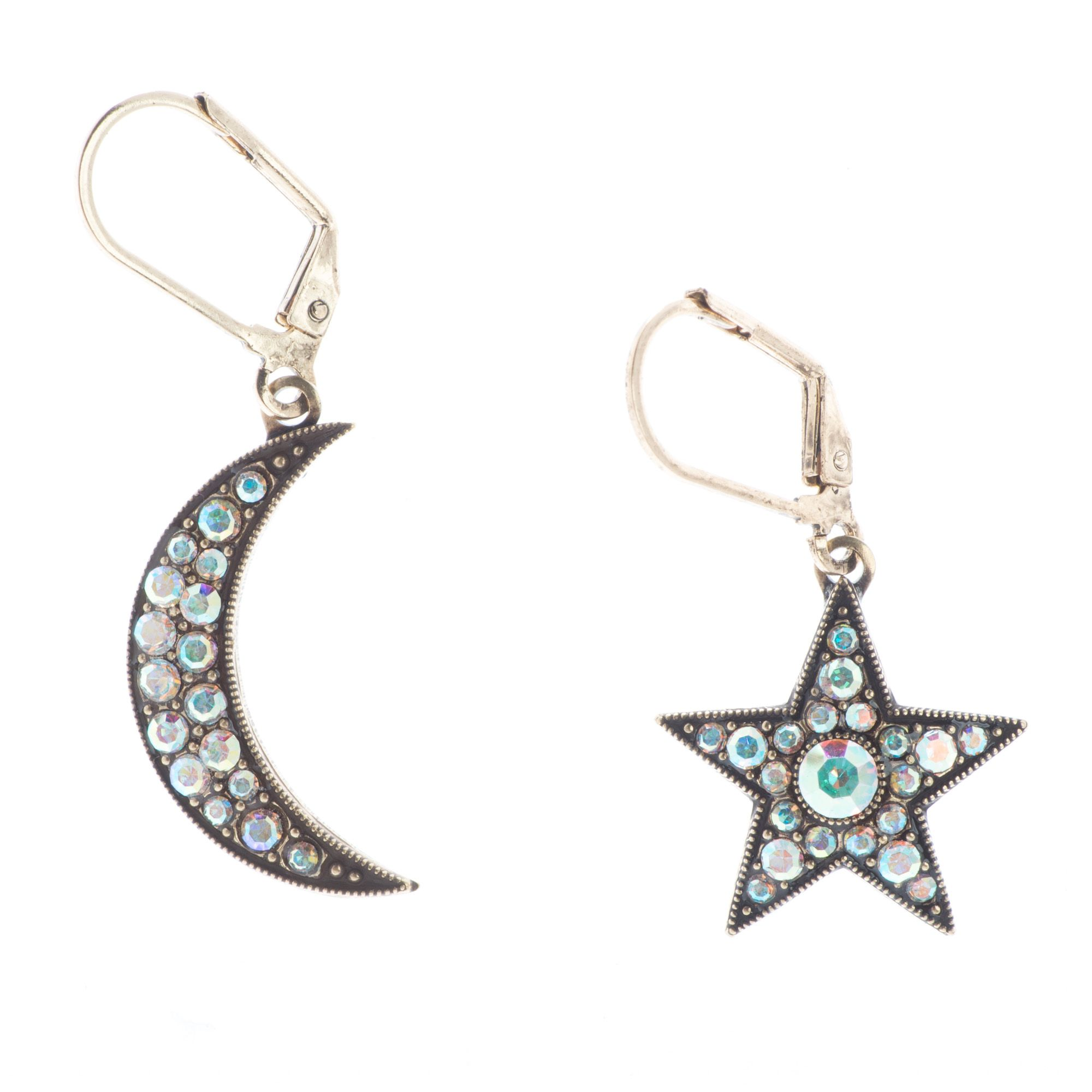 Top Shelf Jewelry Hammered Br Swarovski Crystal Star And Crescent Moon Earrings