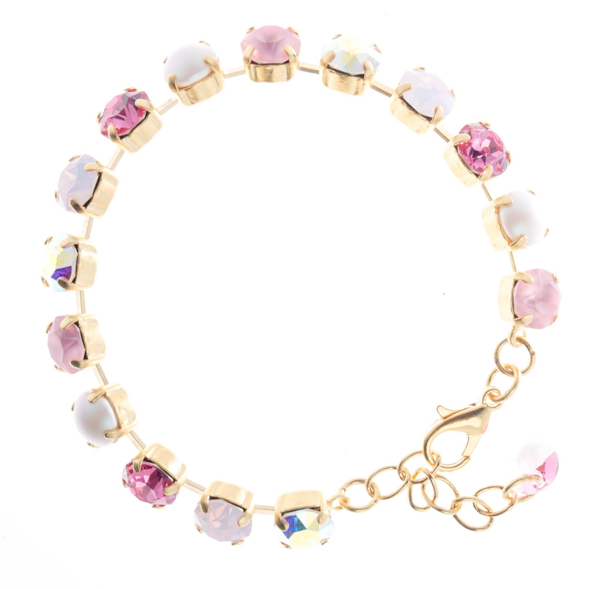 Ypmco 8mm Swarovski Crystal Tennis Bracelet Pink Pearl Combo