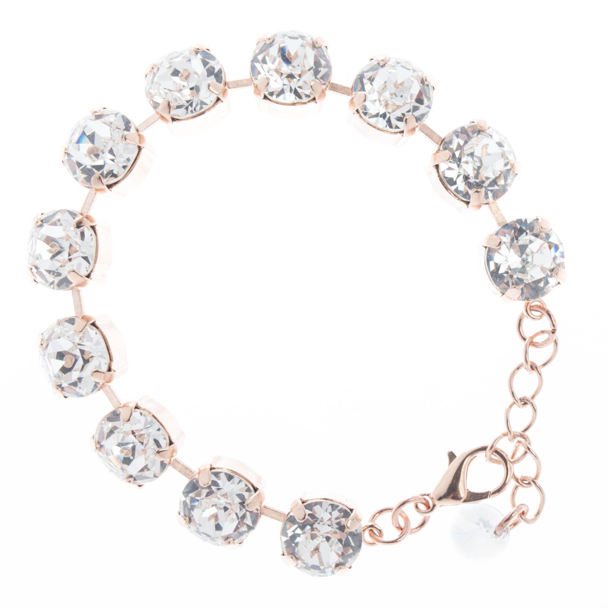 YPMCO 10mm Round Swarovski Crystal Bracelet - Clear & Rose Gold