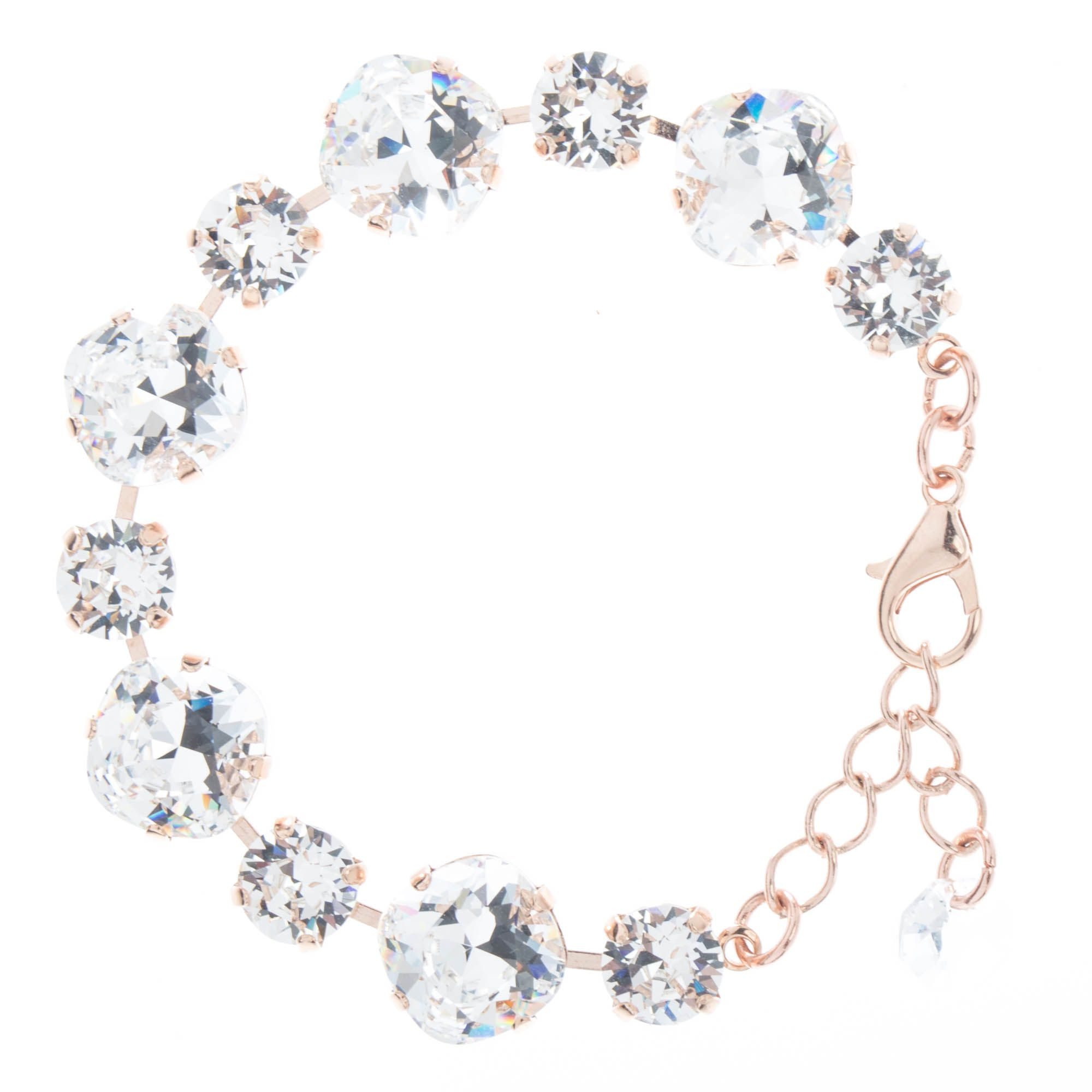 Sparkly! YPMCO 12mm & 8mm Swarovski Crystal Bracelet - Clear & Rose Gold