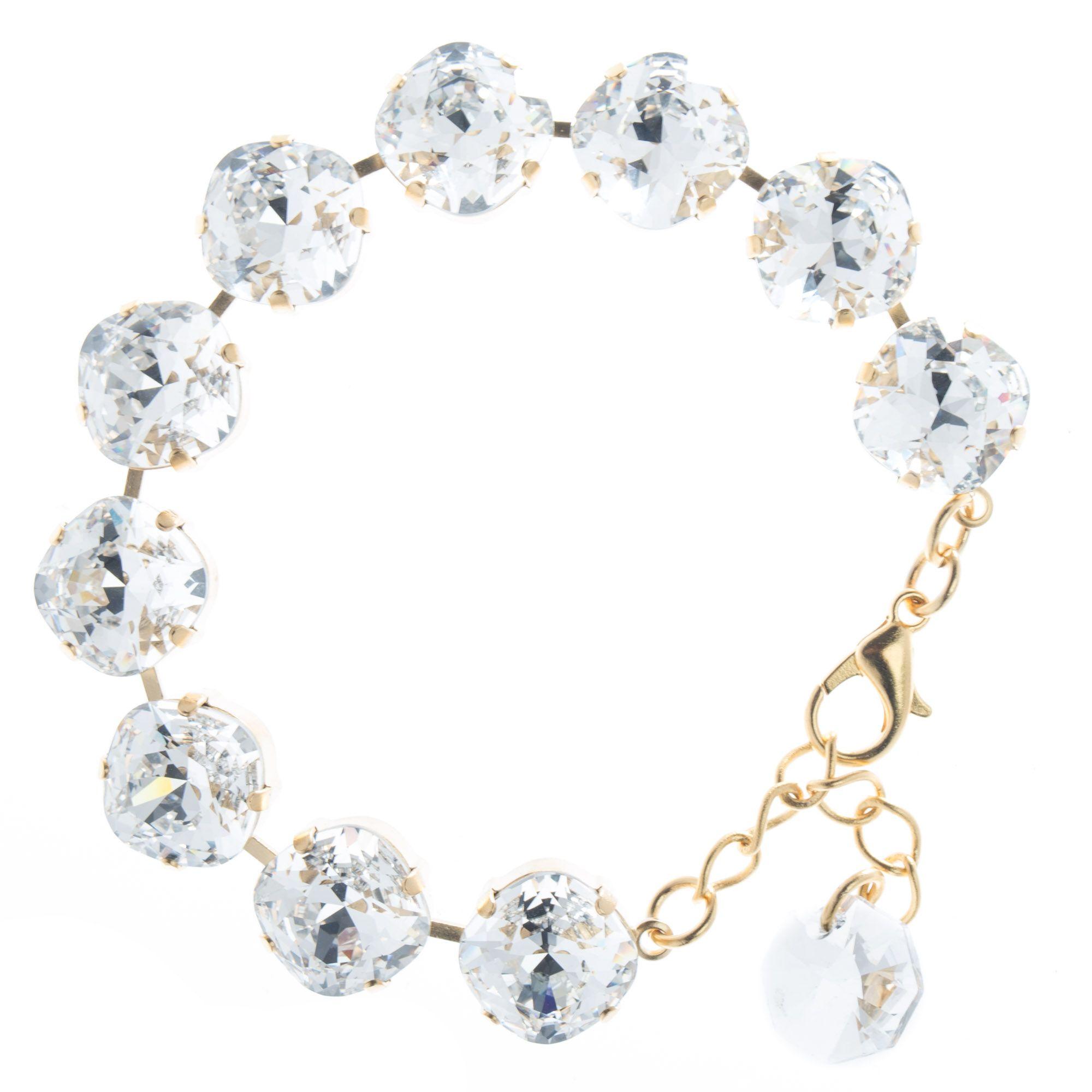 Lisa Marie Jewelry 12mm Square Swarovski Crystal Bracelet - Clear