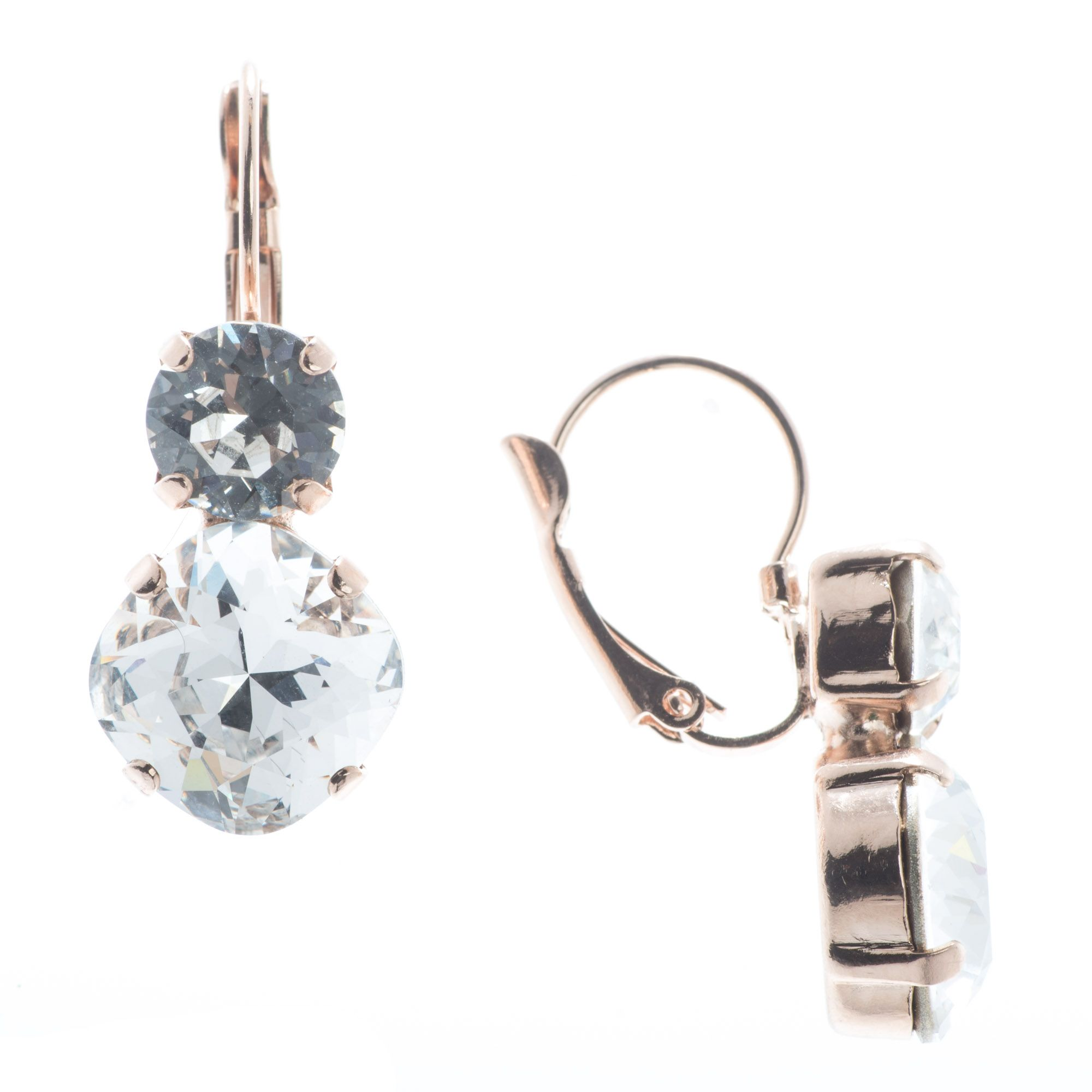 Lisa Marie Jewelry Two Stone Swarovski Crystal Earrings - Clear