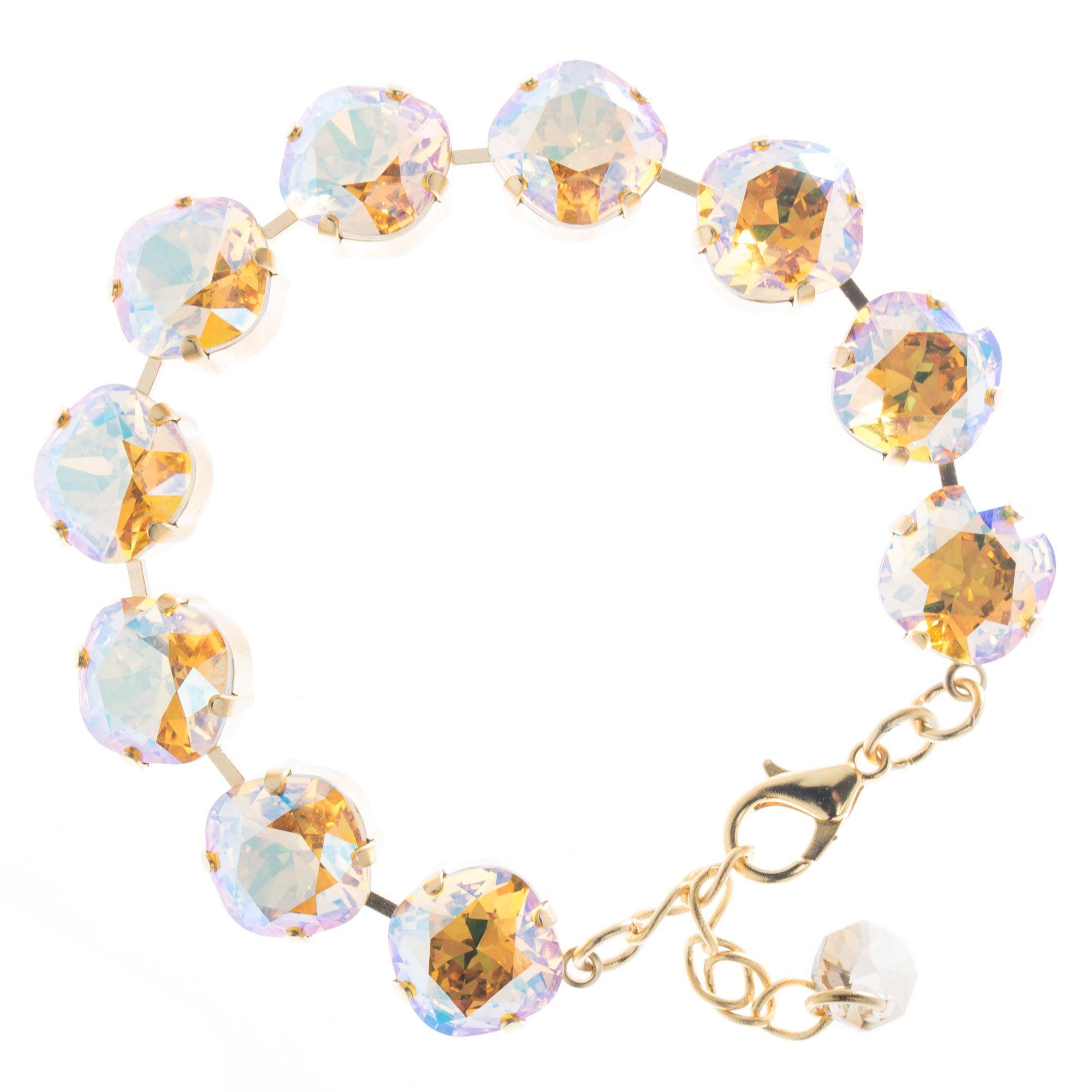 f88dda61a8e7e5 Lisa Marie Jewelry 12mm Square Swarovski Crystal Bracelet - Topaz Shimmer.  Tap to expand