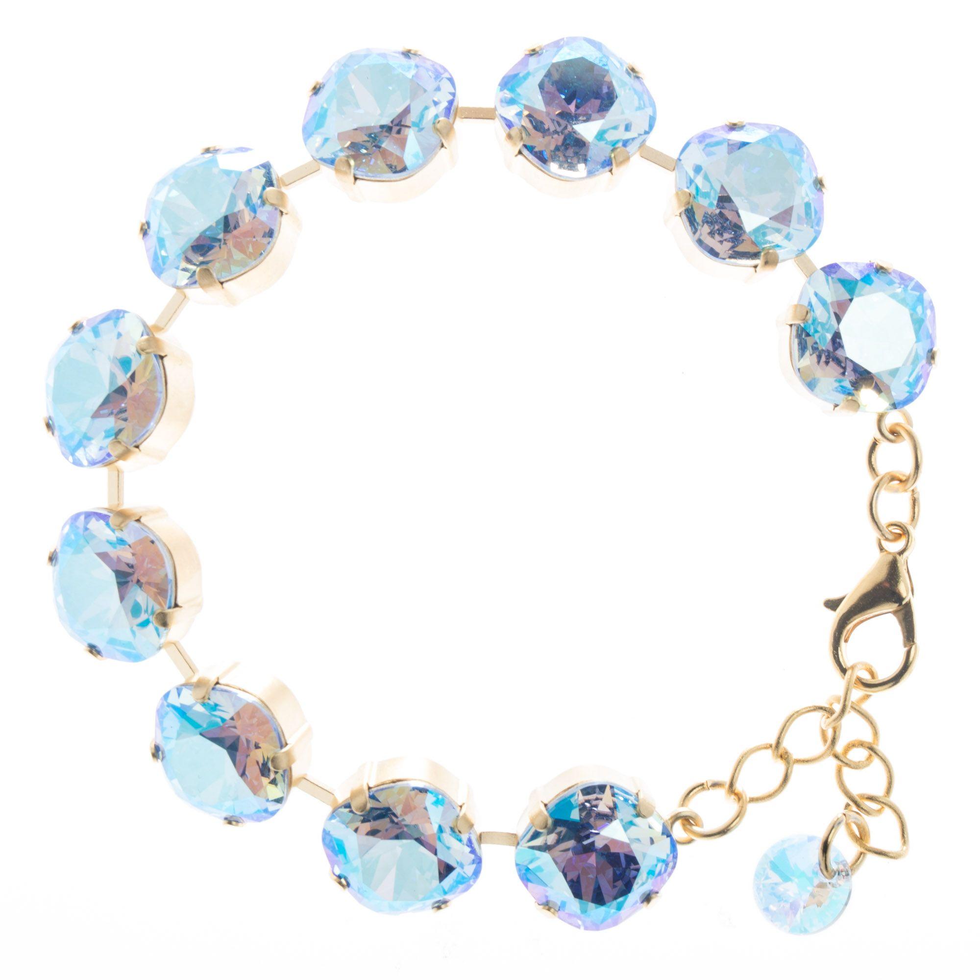 e1c804dbd00875 Lisa Marie 12mm Square Swarovski Crystal Bracelet - Sapphire Shimmer. Tap  to expand