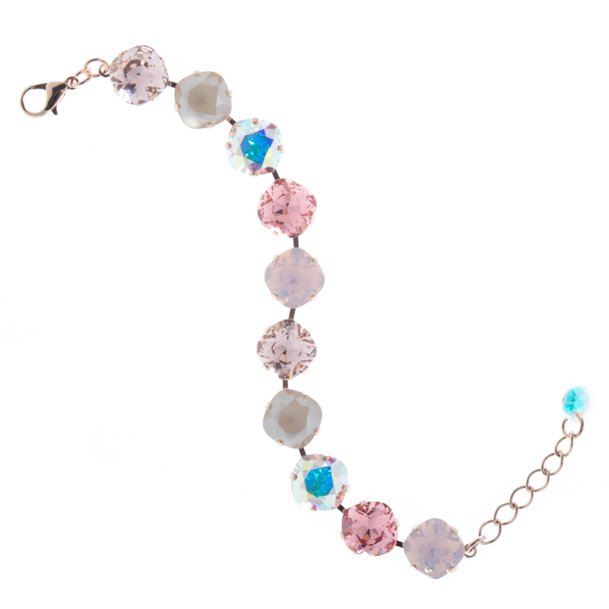 2fb02b54867893 Lisa Marie Jewelry 12mm Square Swarovski Crystal Bracelet - Rose Combo