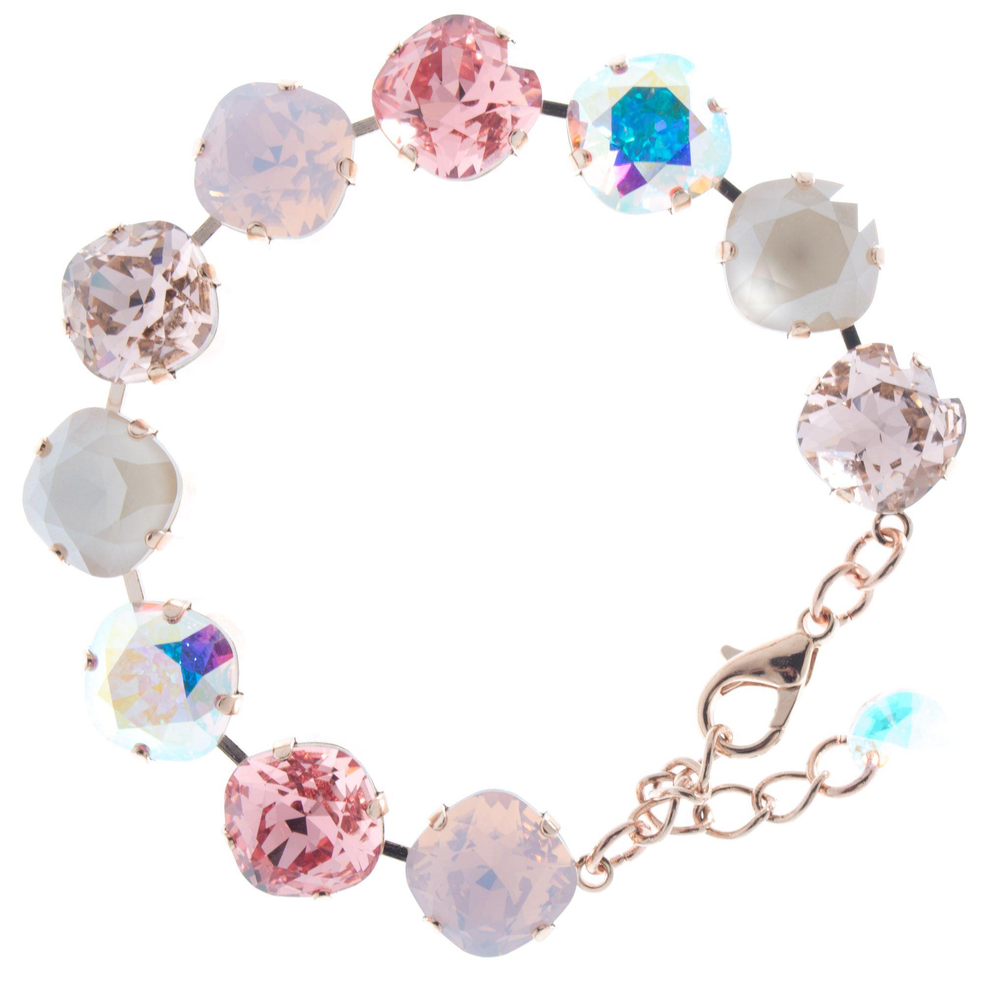 Lisa Marie Jewelry 12mm Square Swarovski Crystal Bracelet - Rose Combo