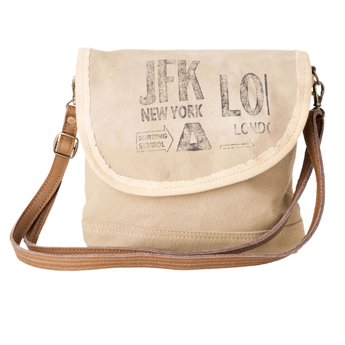Jfk New York Leather Canvas Small Messenger Bag Purse By Clea Ray