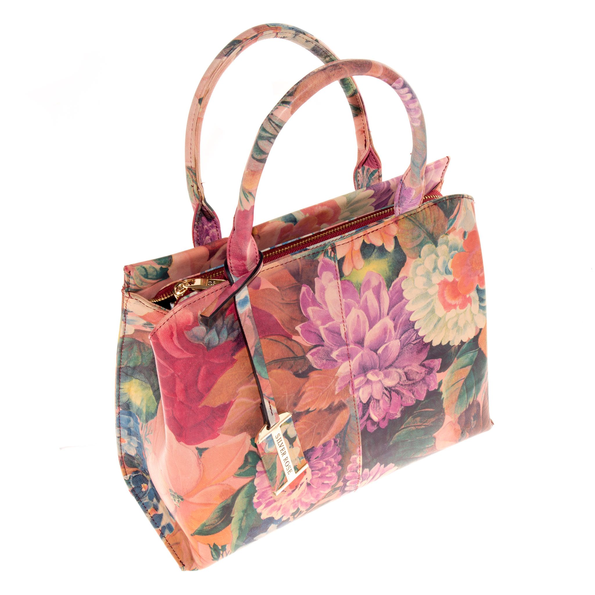 0c0b338f22c Silver rose collection leather handbag purse vintage floral jpg 2048x2048 Flower  print leather handbags