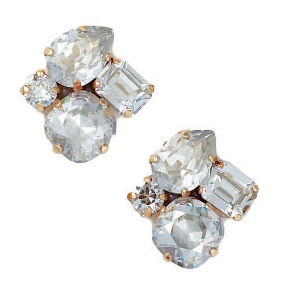Catherine Popesco Elegant Multi Shape Shade Crystal Earrings Clip On