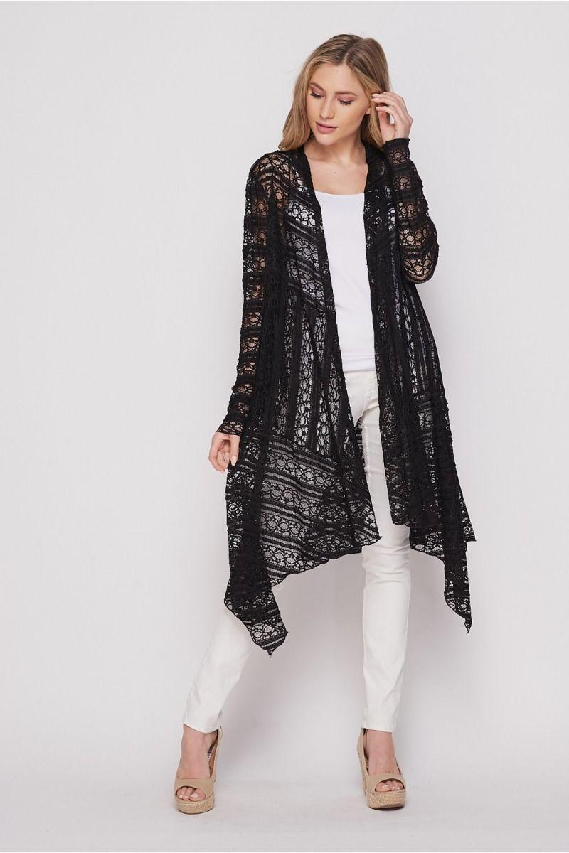 Honeyme Black Lace Long Sleeve Open Cardigan