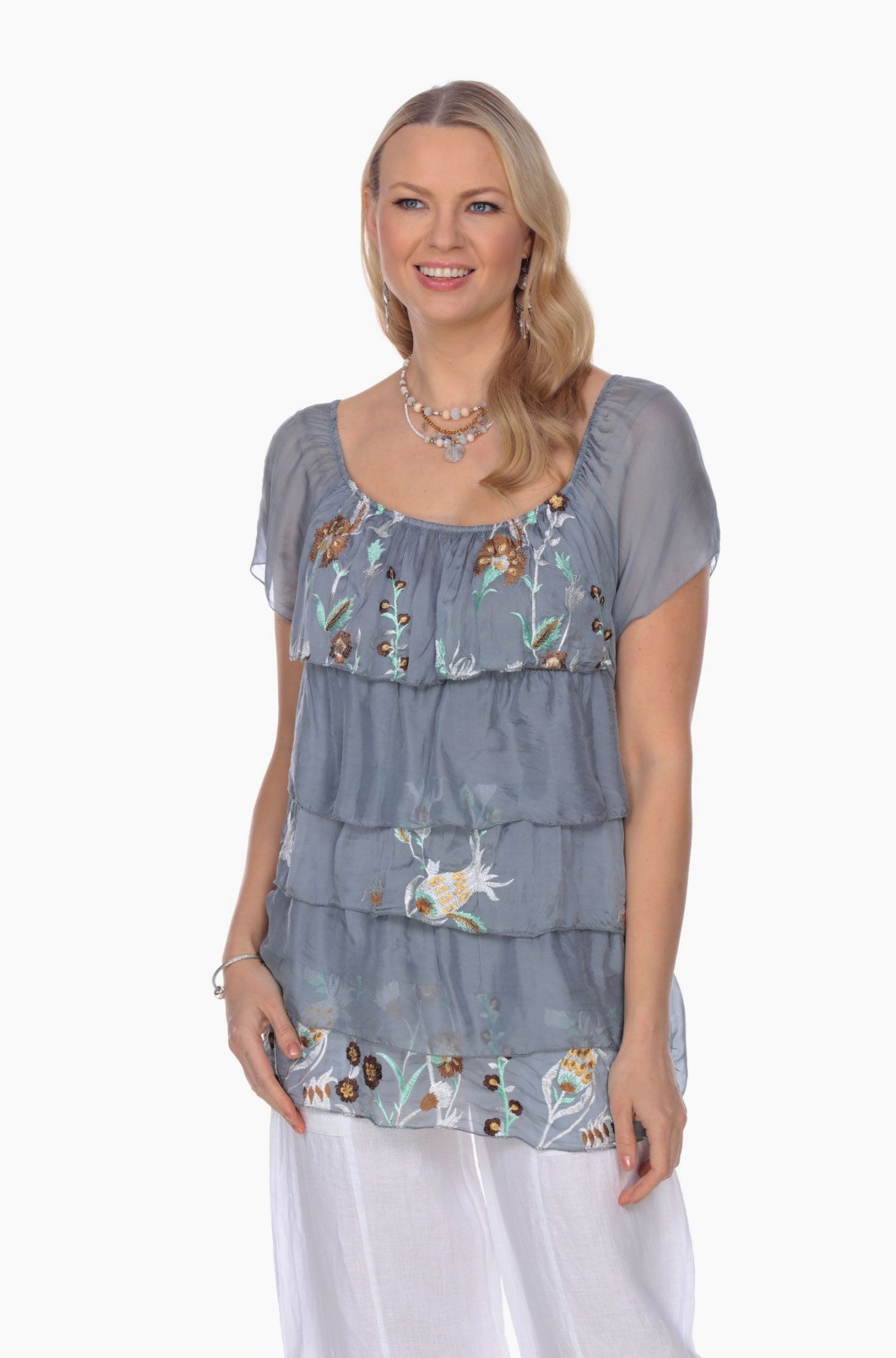 Italian Silk Clothing Grey Short Sleeves Ruffles Blouse with Embroidered  Flowers