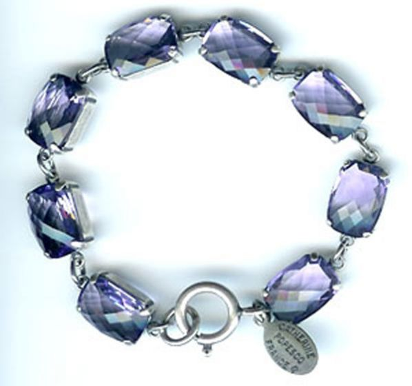 Catherine Popesco Pillow Cut Crystal Bracelet - Tanzanite and Silver