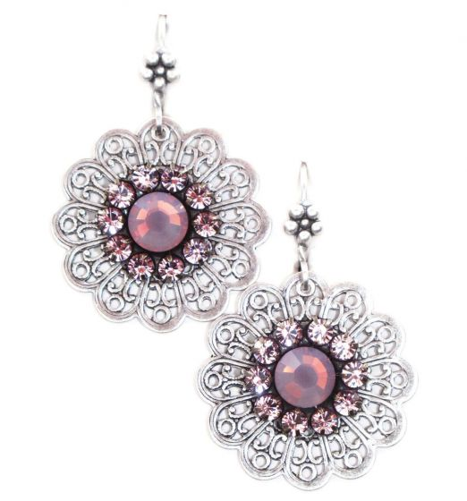 Clara Beau Jewelry Antique Silver and Lavender Filigree Crystal Earrings