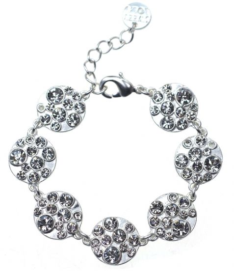 7 Round Mat Silver Circles with Crystals Bracelet by Sweet Lola