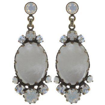 Konplott Jewelry - Dangerous Liaisons White Mother of Pearl Oval Post Earrings
