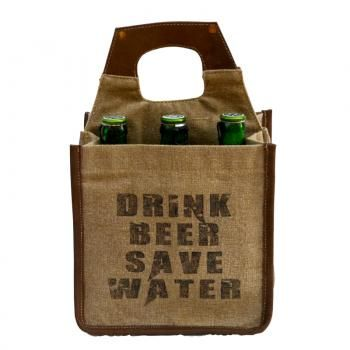 """""""Drink Beer Save Water"""" Leather & Canvas Beer Caddy by Clea Ray"""