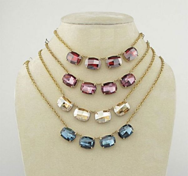 Catherine Popesco Extra Large Stone Oval Crystal Necklace - Champagne or Vintage Rose