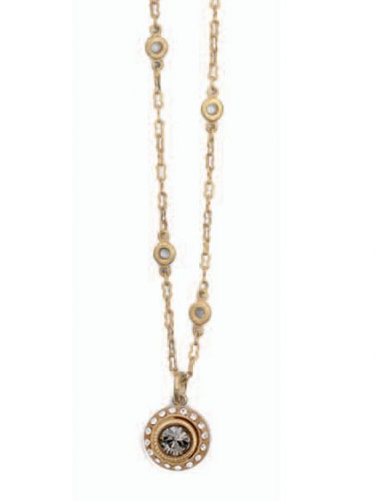 Catherine Popesco Small Round Crystal Medallion Necklace