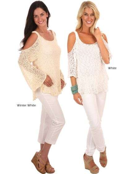 Lost River Clothing Popcorn Knit Cold Shoulder Top - Assorted Colors