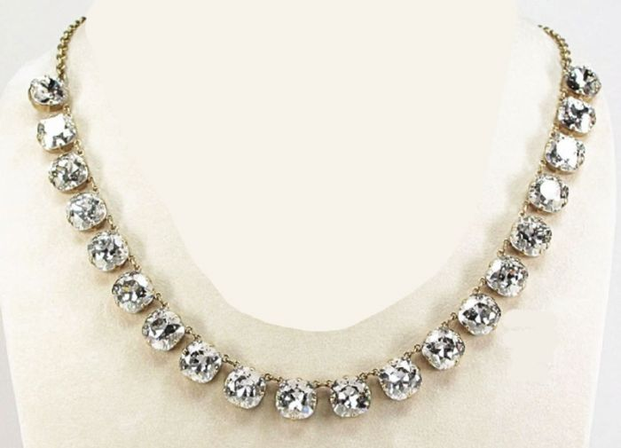 Catherine Popesco 20 Stone Shade Crystal Necklace - Assorted Colors - Gold or Silver