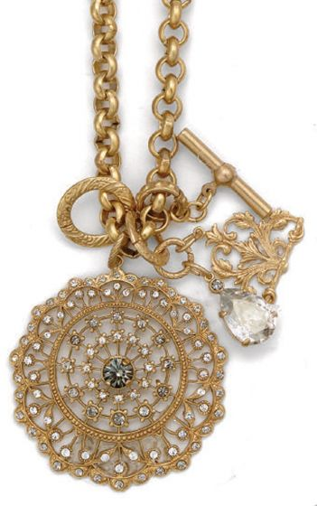 Catherine Popesco Gold Round Crystal Medallion Charm Necklace