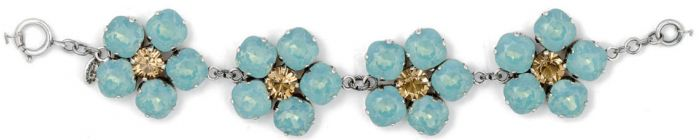 Large Crystal Flower Bracelet - Pacific Opal and Silver