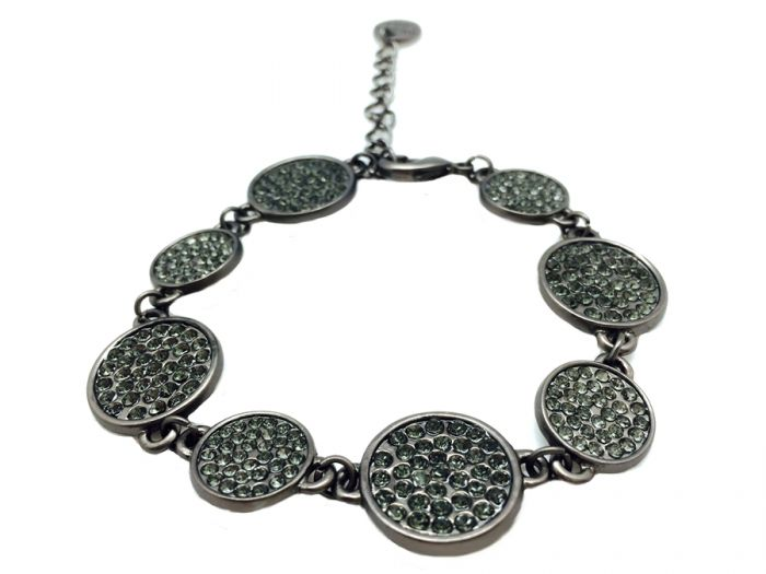 Sweet Lola One Strand Round Gun Metal Black Diamond Crystal Bracelet