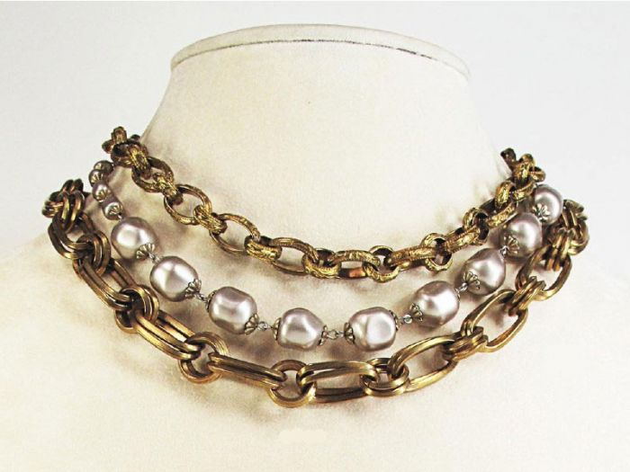Pearl Catherine Popesco Thick Multi Chain Necklace in Gold