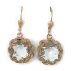 Catherine Popesco Fancy Large Stone Round Earrings - Ice and Gold