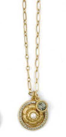 Catherine Popesco Gold Rose Crystal Necklace - Pearl & Black Diamond