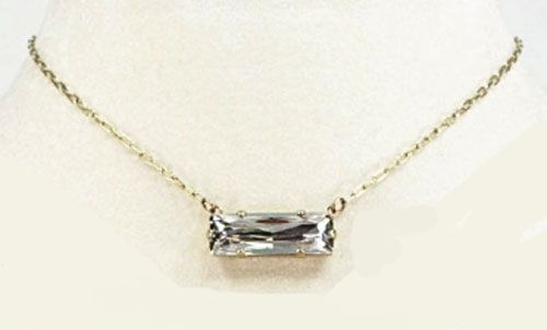 Catherine Popesco Shade & Gold Rectangle Stone Crystal Necklace