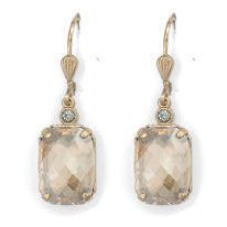 Catherine Popesco Pillow Cut Crystal Earrings - Champagne and Gold
