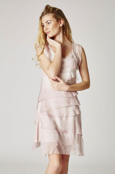 Italian Silk Uni Dress with Layered Ruffles by Look Mode - Many Colors