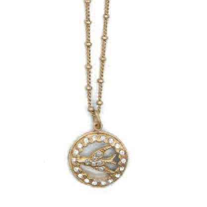 Small Bird Medallion Crystal Necklace