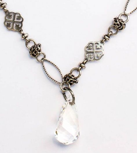 Catherine Popesco Large Ornate Chain with Crystal Helix Pendant - Silver or Gold