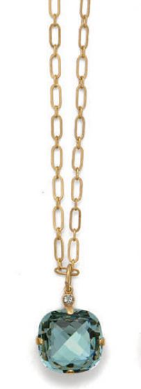 Catherine Popesco Extra Large Stone Necklace - Indian Sapphire and Gold