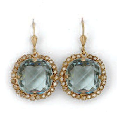 Catherine Popesco Ex-Large Stone Earrings With Crystals - Indian Sapphire and Gold