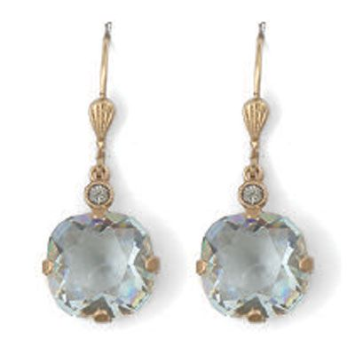 Catherine Popesco Large Stone Crystal Earrings - Ice and Gold