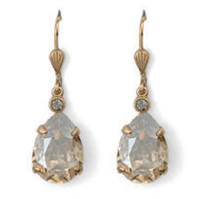 Catherine Popesco Champagne Teardrop and Gold Crystal Earrings