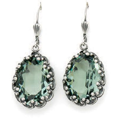 Catherine Popesco Fancy Oval Crystal Earrings - Marine and Silver