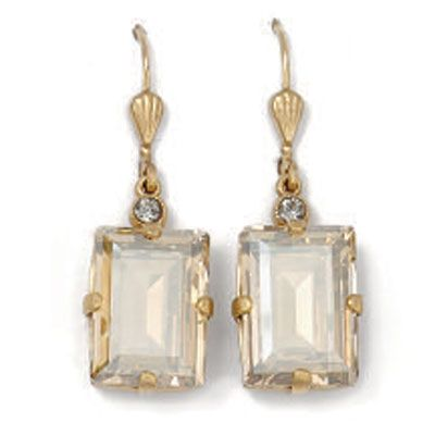 Catherine Popesco Rectangle Earrings - Champagne and Gold