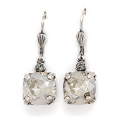 Catherine Popesco Medium Stone Crystal Earrings - Shade and Silver