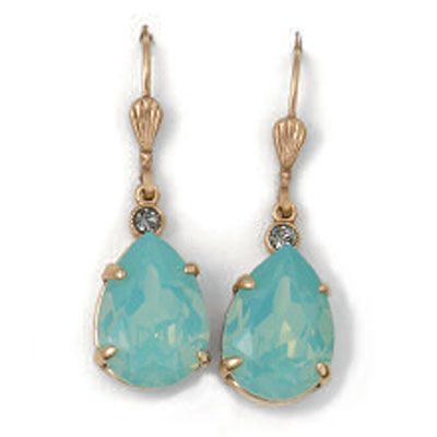 Catherine Popesco Teardrop Pacific Opal and Gold Crystal Earrings