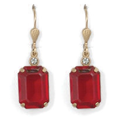Catherine Popesco Red and Gold Rectangle Crystal Earrings