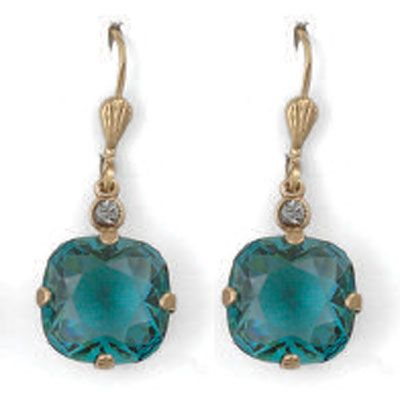 Large Stone Crystal Earrings - Teal and Gold