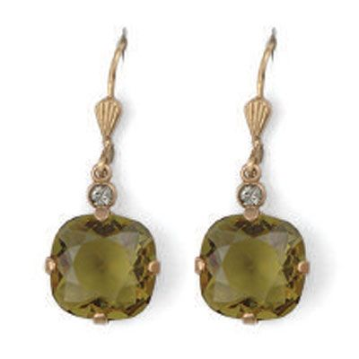Catherine Popesco Large Stone Crystal Earrings - Khaki and Gold