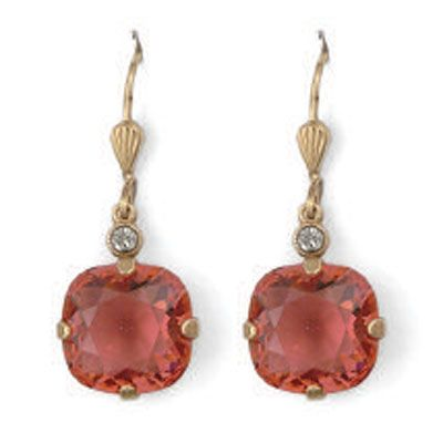 Catherine Popesco Large Stone Crystal Earrings - Coral and Gold