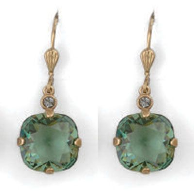 Catherine Popesco Large Stone Crystal Earrings - Marine and Gold